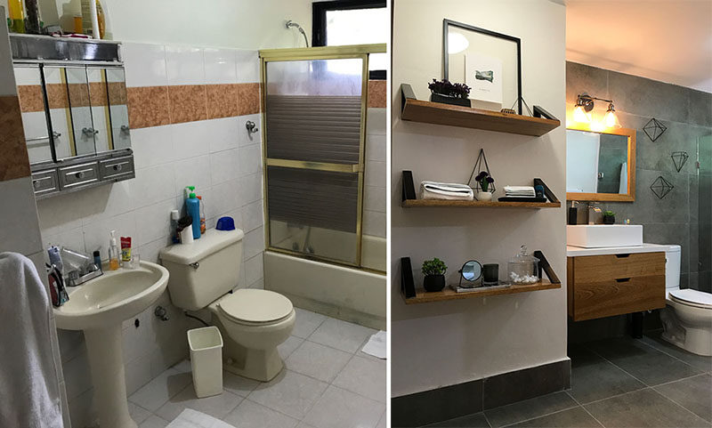 Francis Dominguez from EFE Creative Lab, has designed the modern renovation of a bathroom from the 1990's. #BeforeAndAfter #BathroomRemodel #Renovation