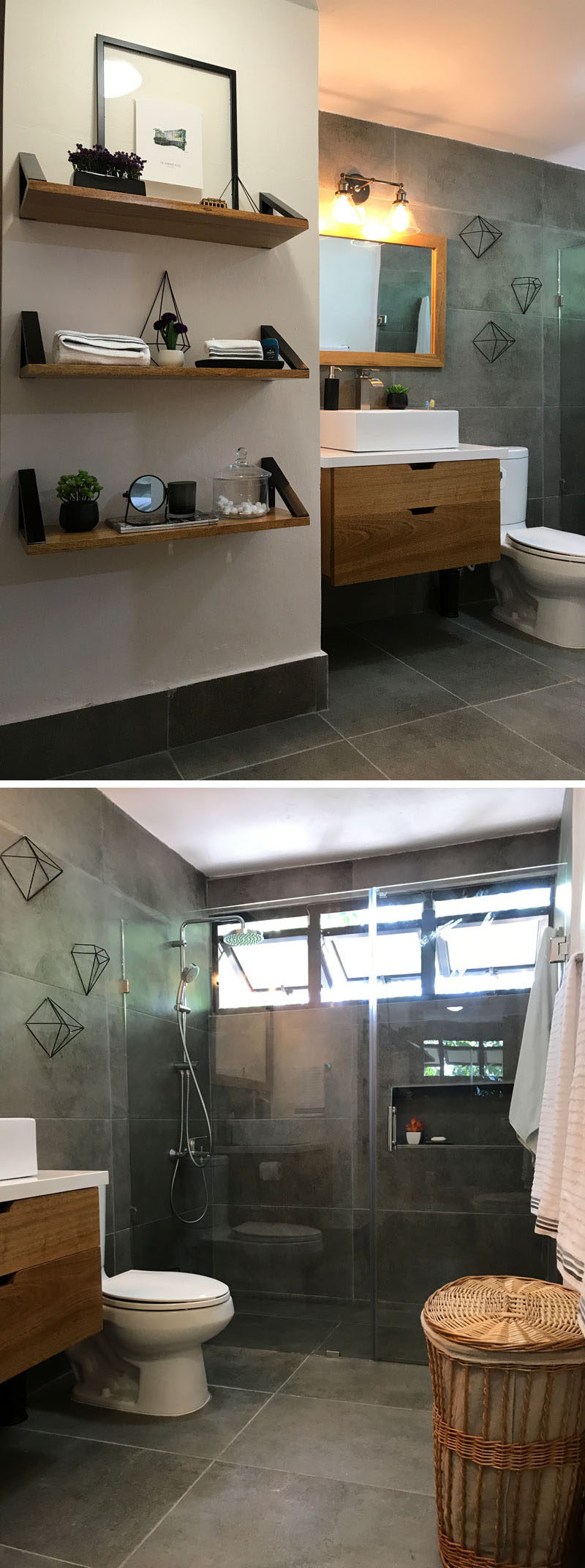 This modern renovated bathroom features concrete looking porcelain tiles in a large, rectangular format. The designer combined the tiles with natural wood tones to give the bathroom a modern touch, while achieving a calm color palette and overall feeling.  #DarkGreyBathroom #ModernBathroom #RenovatedBathroom