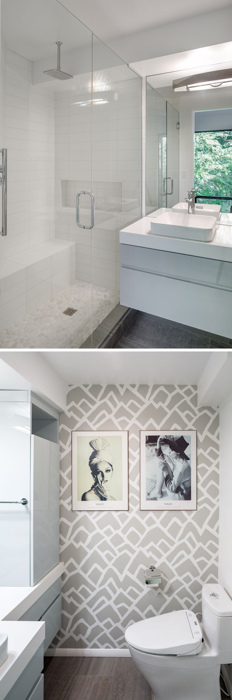This contemporary bathroom has custom cabinetry with a high gloss automotive paint finish in dove gray. Other design highlights of the bathroom include an organic pebble floor for the shower and bold graphic wallpaper. #ContemporaryBathroom #BathroomDesign