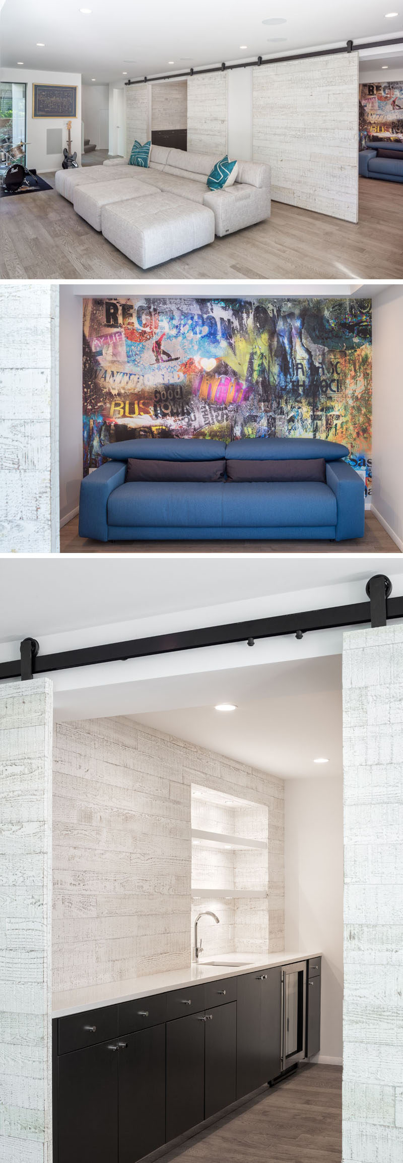 This family room has reclaimed soji wood sliding barn doors that hide a kitchen/bar area and a guest room with a graffiti art wall. #SlidingBarnDoors #GuestRoom #FamilyRoom #Bar