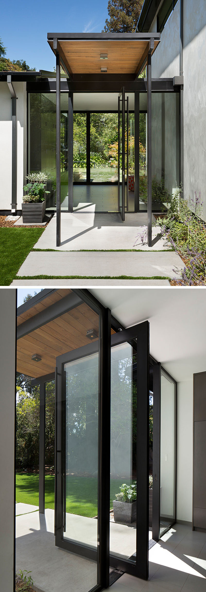 Welcoming guests to this modern house is a pivoting glass front door with black frames and hardware. #PivotingDoor #GlassFrontDoor #FrontDoor