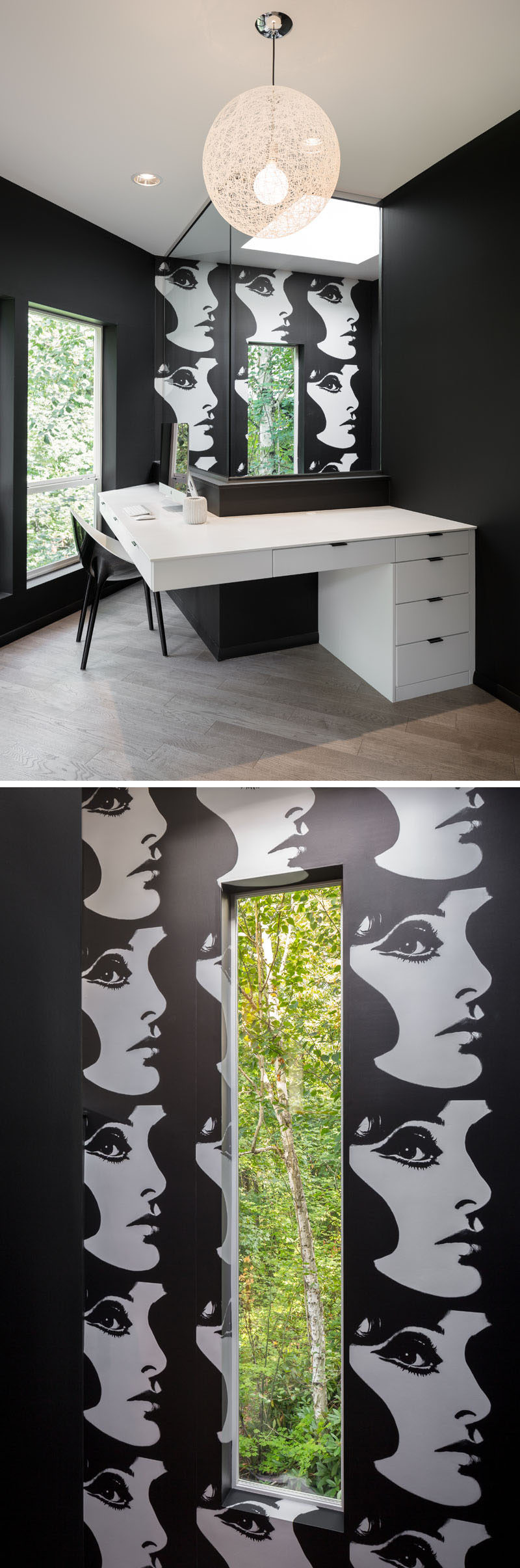 This home office features acustom corian desk and black and white Phyllis Morris Superstar wallpaper. #HomeOffice #ModernHomeOffice