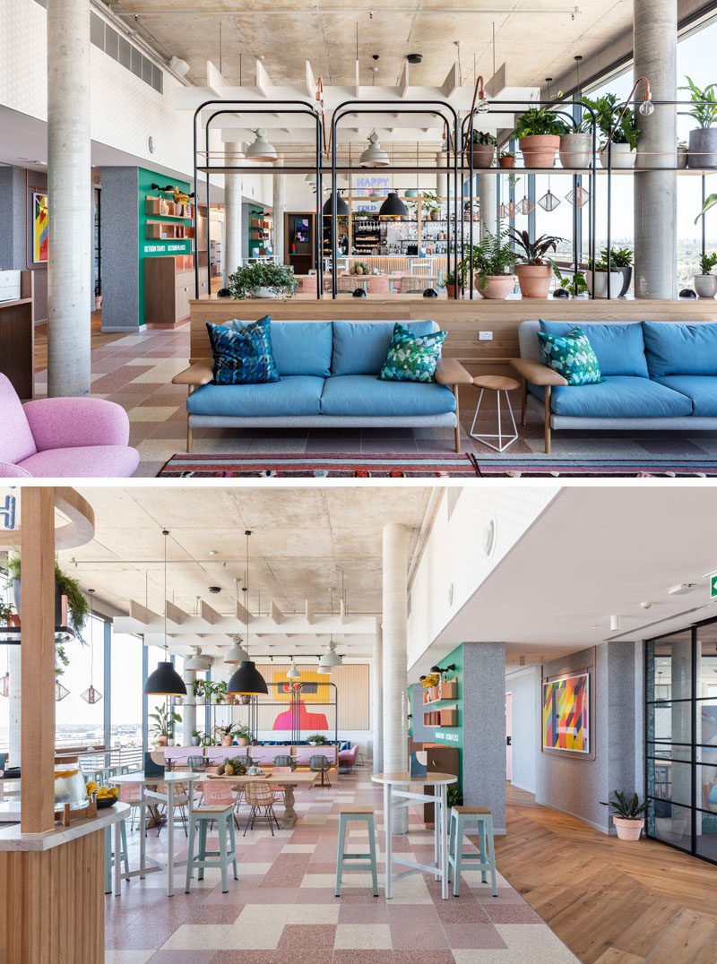 Hanging chairs are combined with murals, couches and armchairs to a create a fun and comfortable environment in this modern hotel. #ModernHotel #InteriorDesign