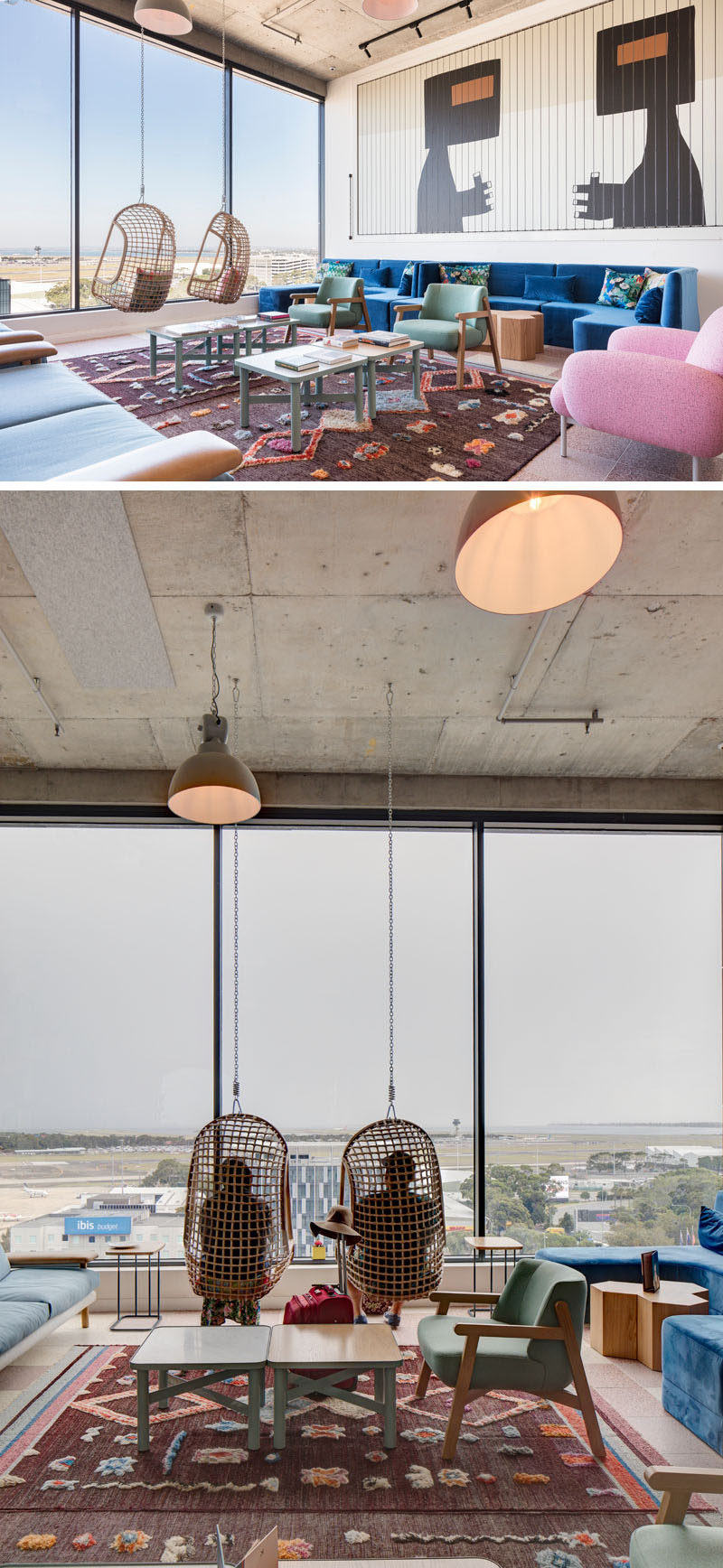 The social areas of this modern hotel are located in the 'Sky Lobby', which has been designed as a place to congregate / meet / relax and at the same time, it offers expansive views south across Botany Bay and Sydney International airport. #ModernHotel #HotelInterior #InteriorDesign