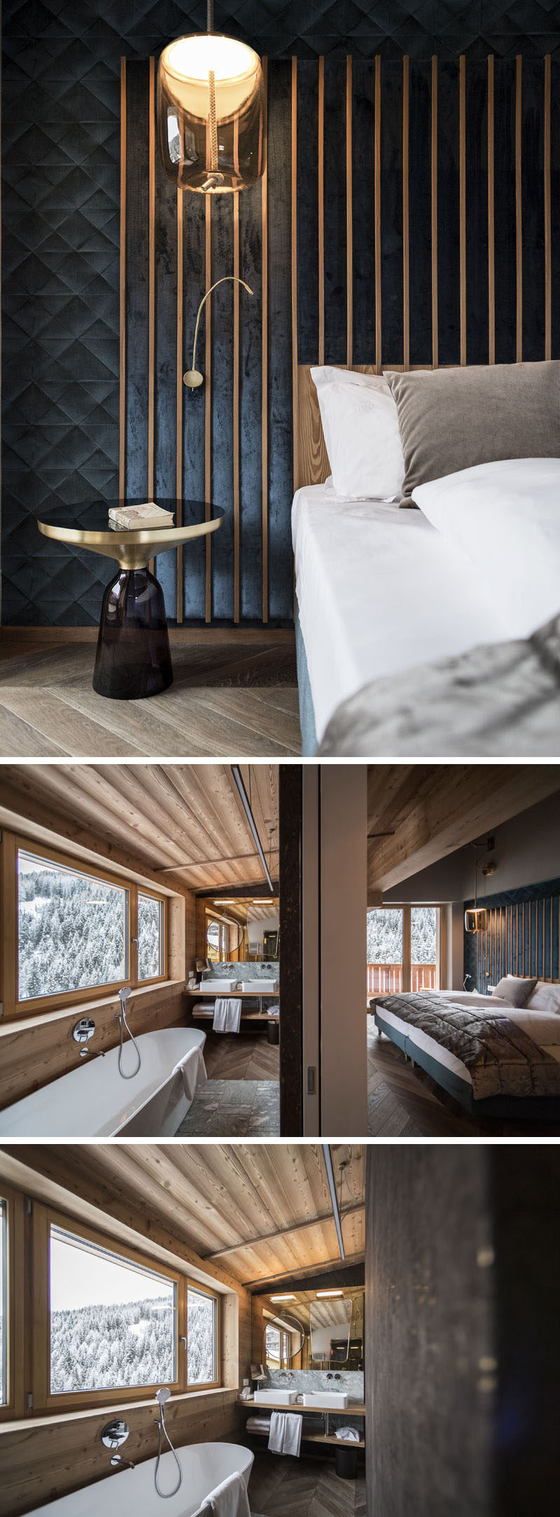 In this modern hotel suite, wood slats with padded fabric make up the bed headboard, while in the bathroom, there's a freestanding bathtub that sits below the windows. #HotelSuite #BedroomInspiration #Bathroom