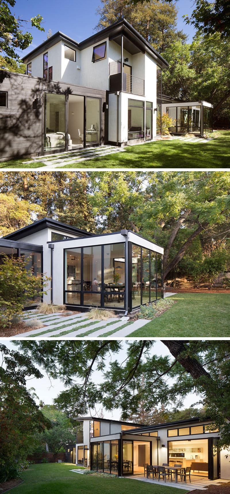 From the backyard of this modern house, you can see themaster bedroom, which is located on the ground floor, while the boys' upstairs rooms have a treehouse-like feel. There's also a patio area that's furnished as an outdoor dining area. #ModernHouse #Architecture