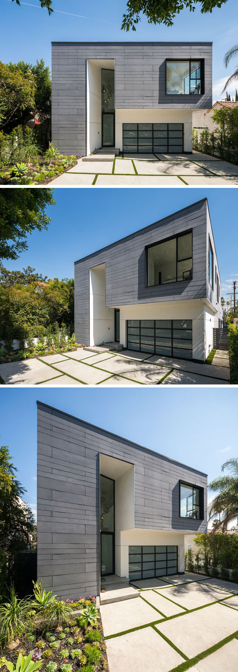 The exterior of this modern house has white stucco paired with gray Equitone fiber cement board panels to create a dramatic and eye-catching appearance on the street.