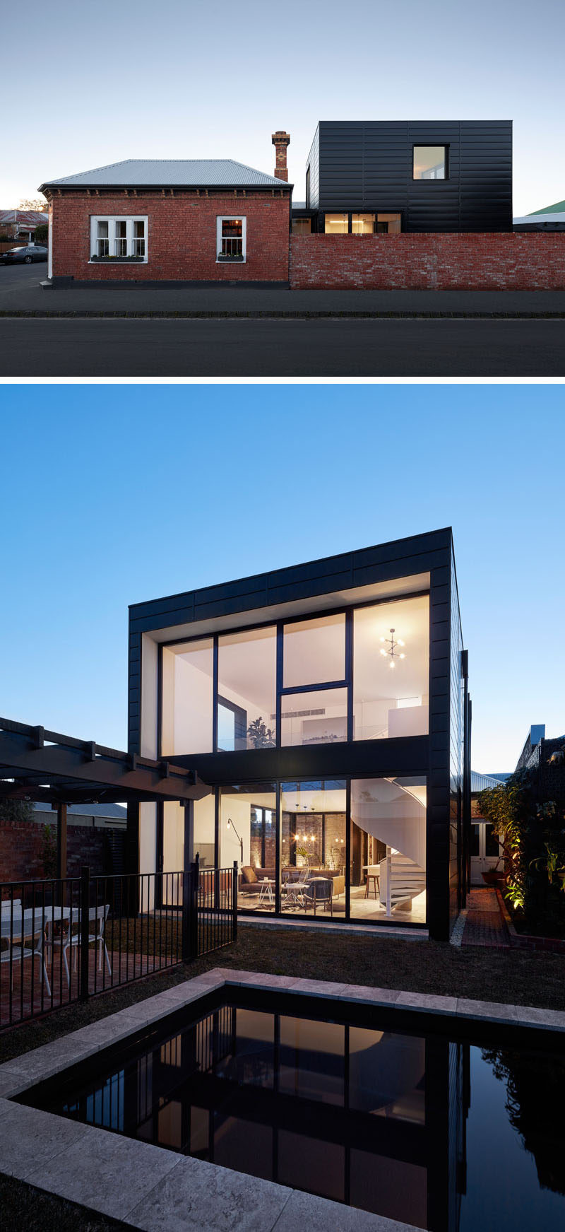This modern house extension features Colorbond Diversaclad in a 'Night Sky' color, with complementing black powder?coated double glazed windows. #ModernHouseExtension #Architecture