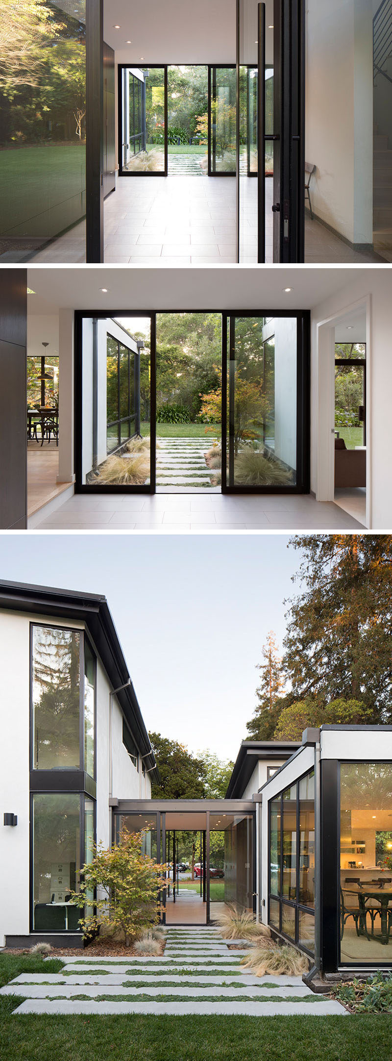 Inside this modern house, there's a glass entry vestibule separates the public and private spaces within the house, and draws the family and visitors into the home and through to the backyard. #Entryway #GlassDoors #ModernHouse