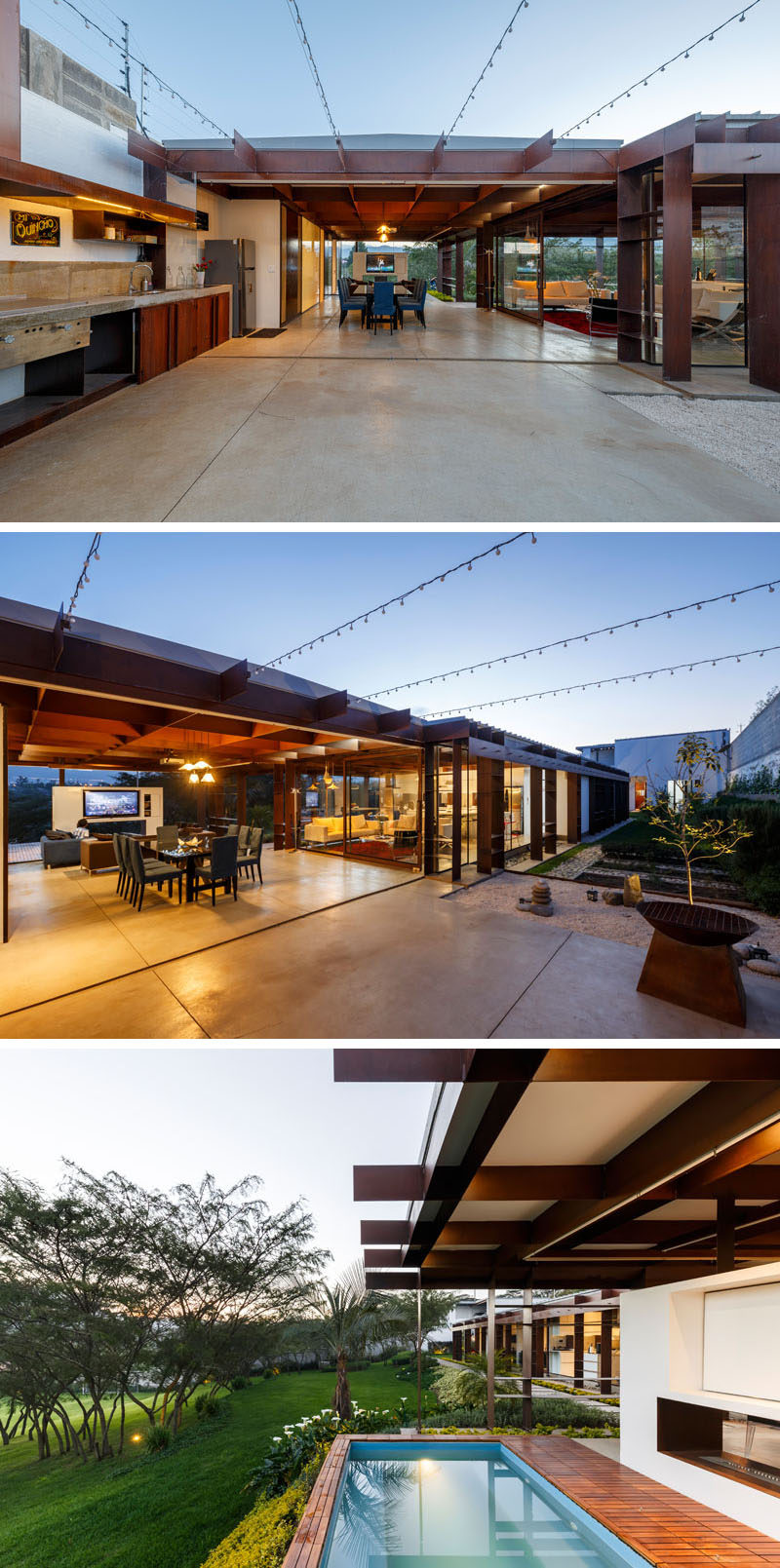 This modern house has a large and partially covered outdoor patio space, with a dining and lounge area, a television and fireplace, an outdoor kitchen and a hot tub. #Patio #OutdoorDining #HotTub #OutdoorKitchen #Fireplace
