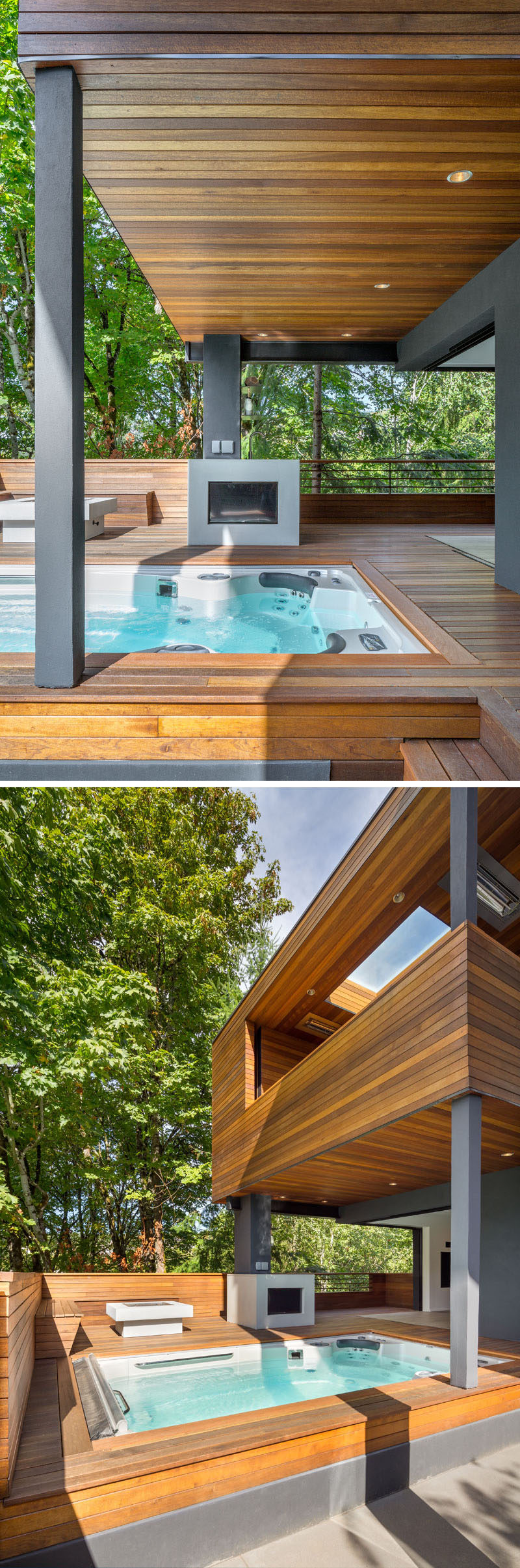 This modern house has an outdoor area with a built-in TV, a custom fire pit with wood seating and a therapeutic swim spa. #OutdoorSpace #OutdoorFirepit #Spa