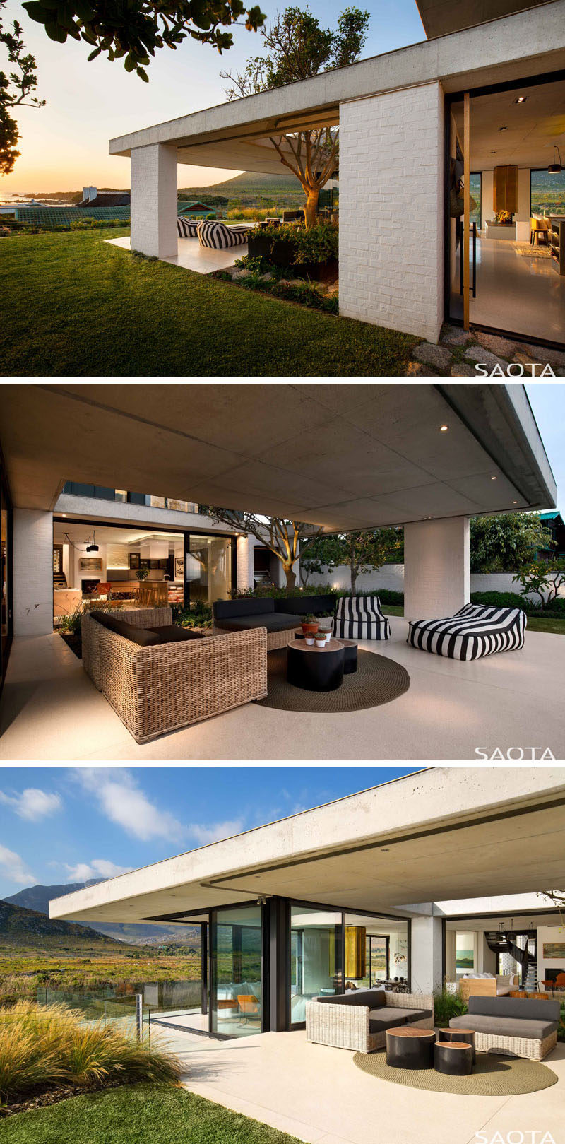This modern house has a partially covered outdoor space with couches and lounge chairs. #OutdoorSpace