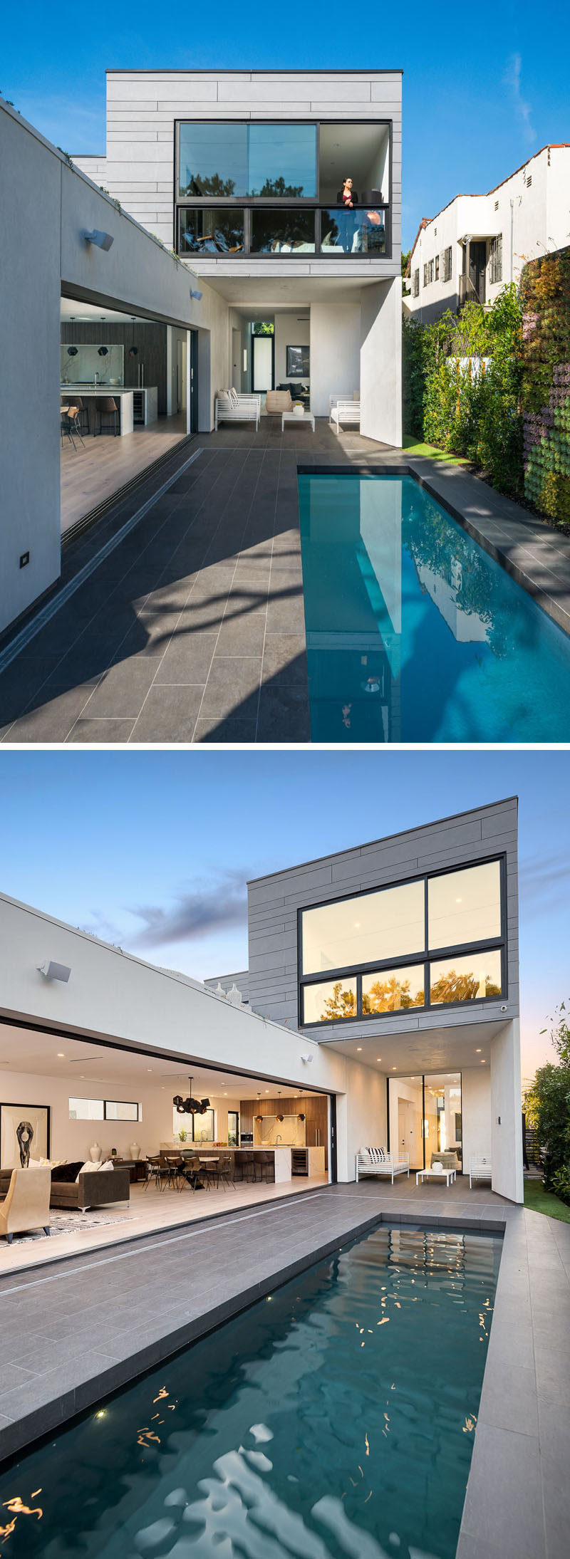 This modern house has sliding glass walls and doors that open the interior of the home to the backyard and swimming pool. #ModernHouse #SwimmingPool