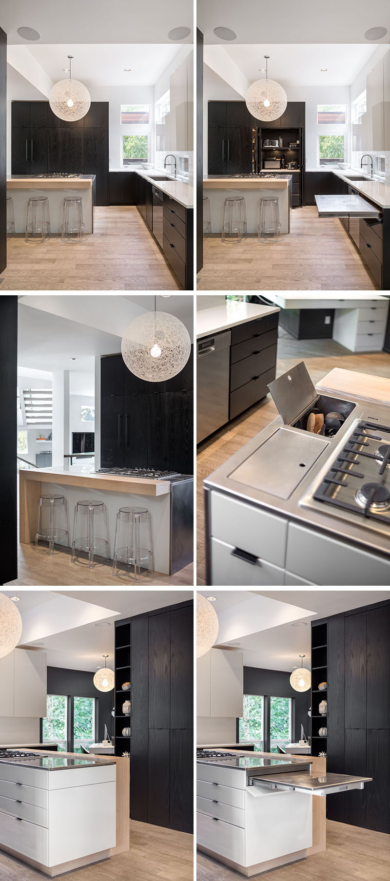 This modern kitchen has incorporatedhidden, multi-functional elements like custom pull out prep surfaces that tuck away, pop up utensil vessels, and a dish drying rack in the cabinet above the sink. #ModernKitchen #KitchenDesign