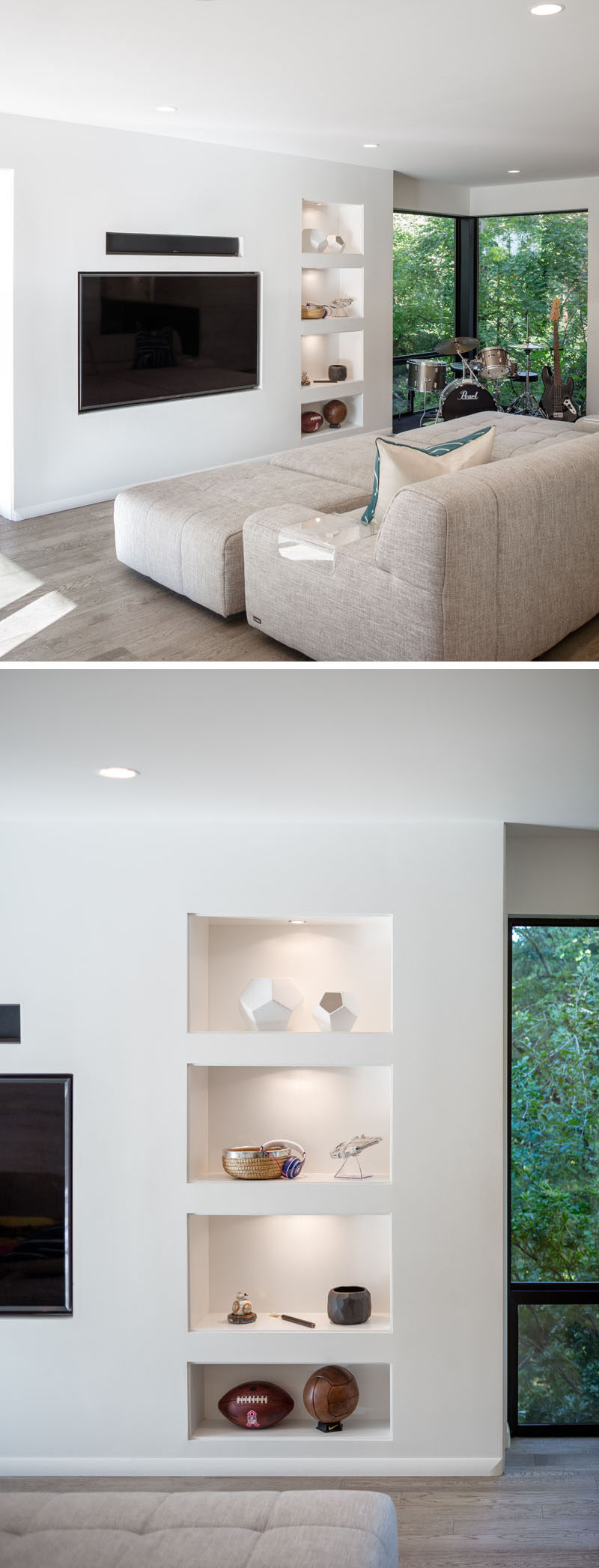 This modern family room has a television that sits flush with the wall, recessed display shelving with lighting, andtouch latch hidden storage. #Shelving #FamilyRoom