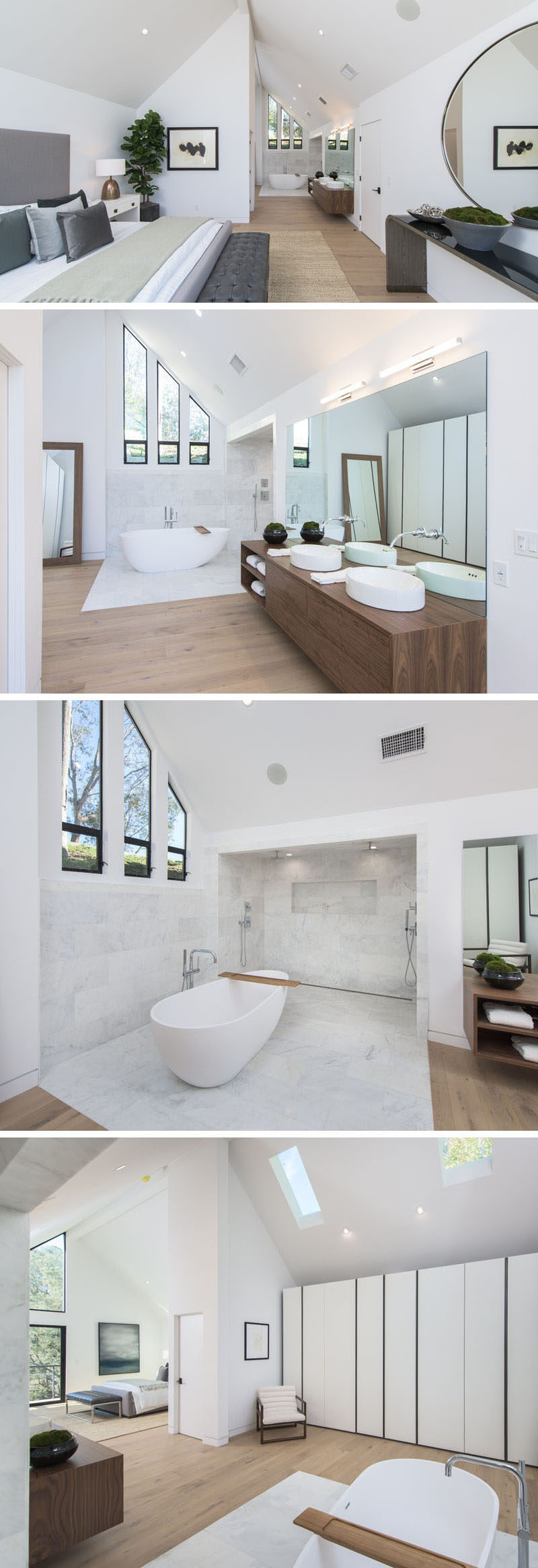 This modern master bedroom has a vaulted ceiling with an open bathroom. A white freestanding bathtub sits next to the dual shower, which is surrounded by tile. On the opposite wall to the shower is a wall of closets. #MasterBedroom #BedroomSuite #Bedroom #Bathroom