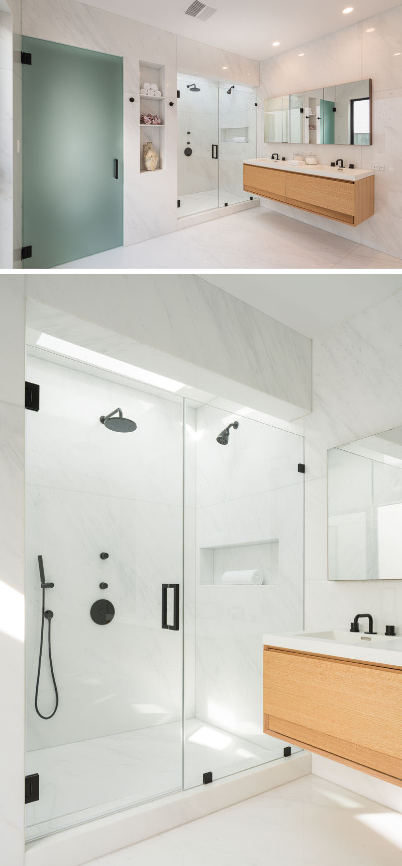 In this modern ensuite bathroom is a toilet hidden behind a frosted glass door, and a glass enclosed walk-in shower.#MasterBathroom #BathroomDesign