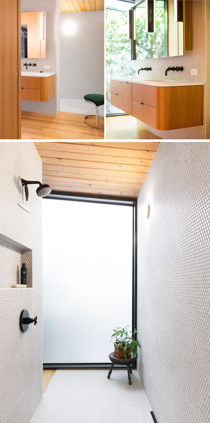 This modern master bathroom features white penny tiles, a floating wood vanity and an open shower. #MasterBathroom #PennyTiles #FloatingVanity