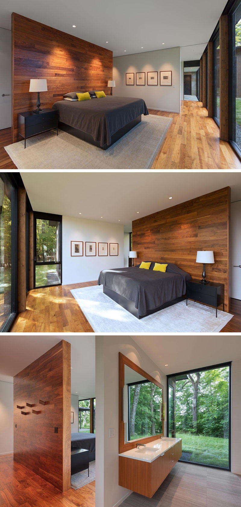In this modern master bedroom, there's a wood accent wall that also acts as a partition, and behind it are coat hooks. Off to the side of the bedroom is the master bathroom that features a large window with tree views. #MasterBedroom #MasterBathroom