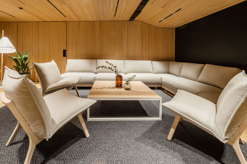 This modern office features lounges that can be used as a place to work, relax or if needed be rearranged to hold a meeting. #Lounge #Workplace #OfficeDesign
