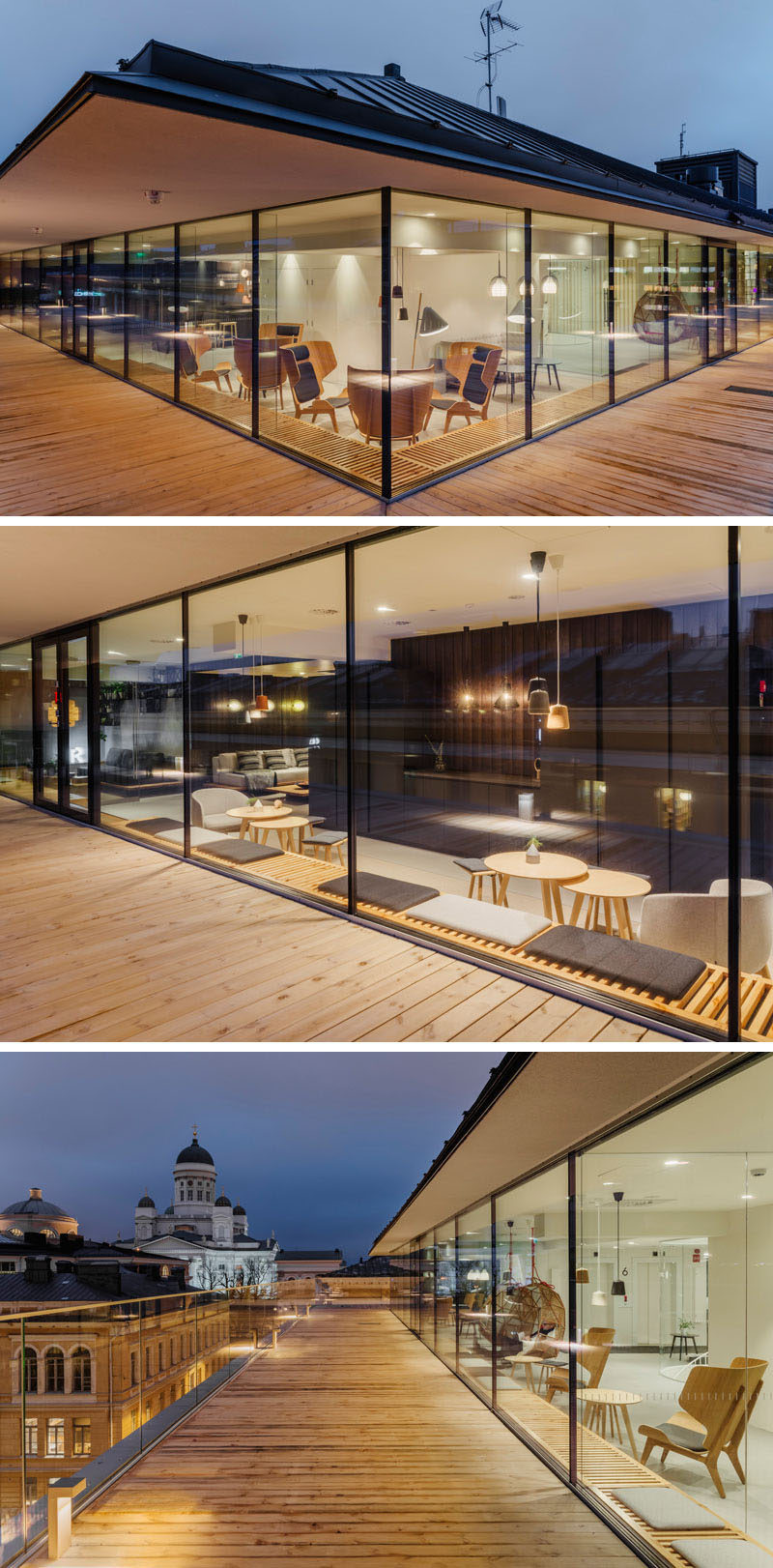This modern workplace has a wood bench that wraps around the interior at the same height as the deck, providing a place to relax and enjoy the view from inside. #Workplace #OfficeDesign #Deck #WindowSeat