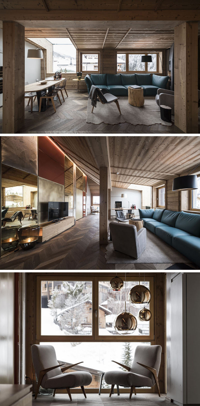 This hotel penthouse has a shared living room and dining room with windows overlooking the mountains, while a small sitting area nearby looks out towards the surrounding neighborhood. #LivingRoom #HotelSuite #InteriorDesign #Penthouse