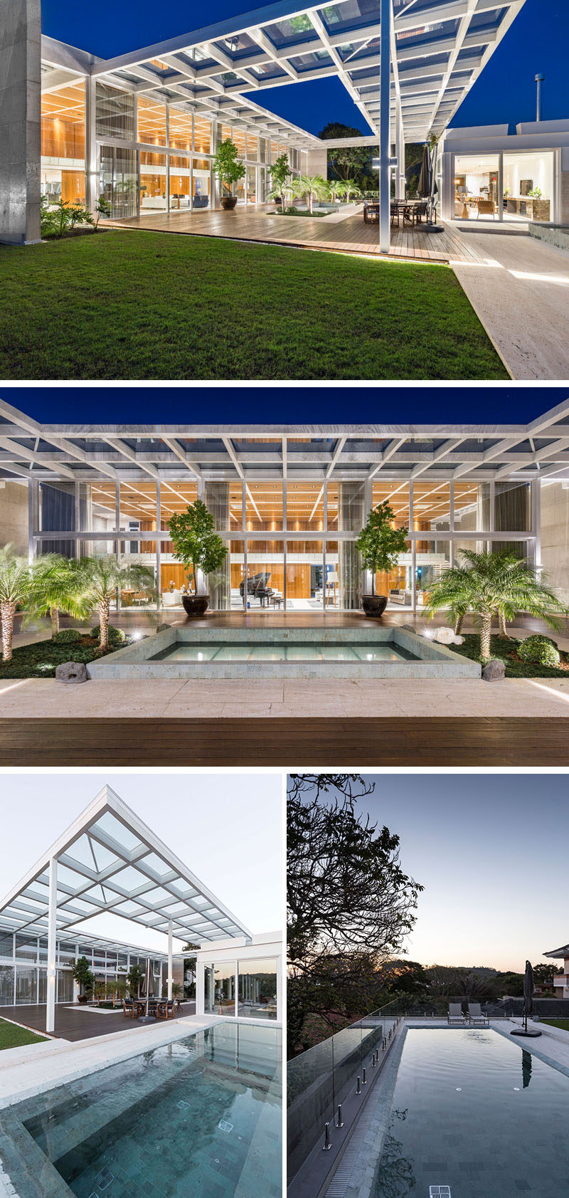 Off the living/dining room of this modern house is a pergola that follows the steel grid lines of the roof, creating the feeling that the house extends itself, mixing outdoor and indoor spaces. #ModernPergola #SwimmingPool