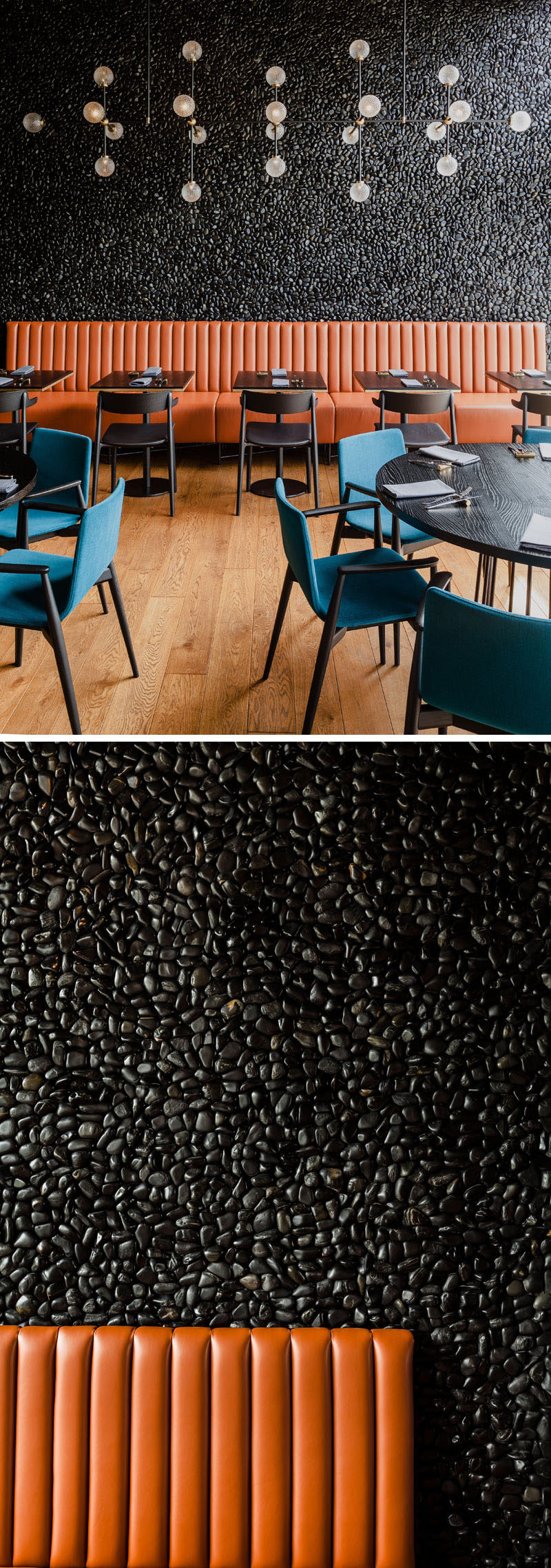 Leather banquette seating sits against a background of hand-laid wall mosaic of blackpebbles in this modern restaurant. #Pebbles #AccentWall #RestaurantDesign