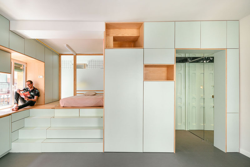 Architecture firm elii have designed the interior of an 355 square foot (33m2) apartment in Madrid, Spain, that features two levels and creative storage solutions. #SmallApartment #ApartmentDesign