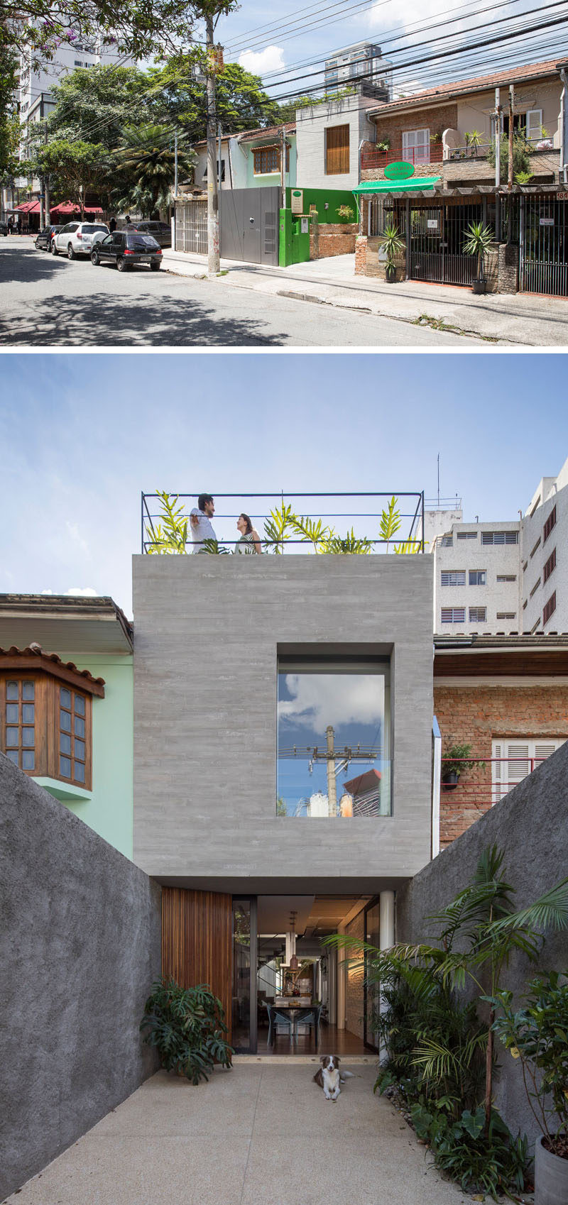 The updated narrow Brazilian house has a secure area at the front of the home that acts as a small garden and patio before entering the home. #NarrowHouse #ModernHouse