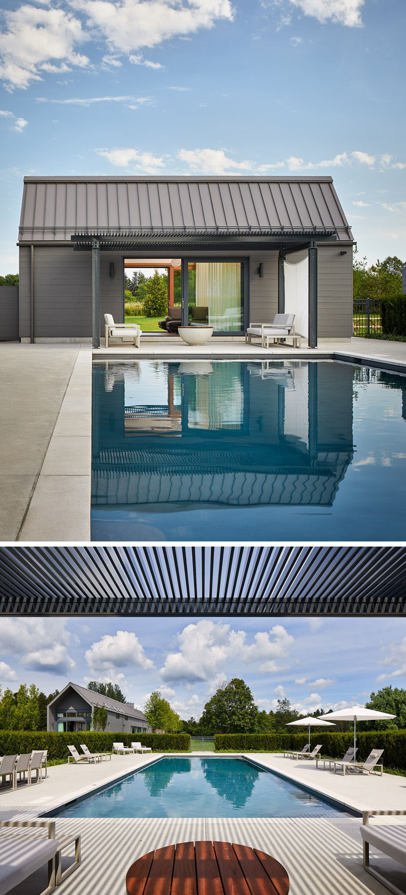 In this modern landscaped yard, there's apool, a hot tub and asheds that contain a sauna, pool equipment and mechanical functions. If needed in the future, the shed can be transformed into a one-bedroom guest cottage. #ModernSwimmingPool #PoolHouse