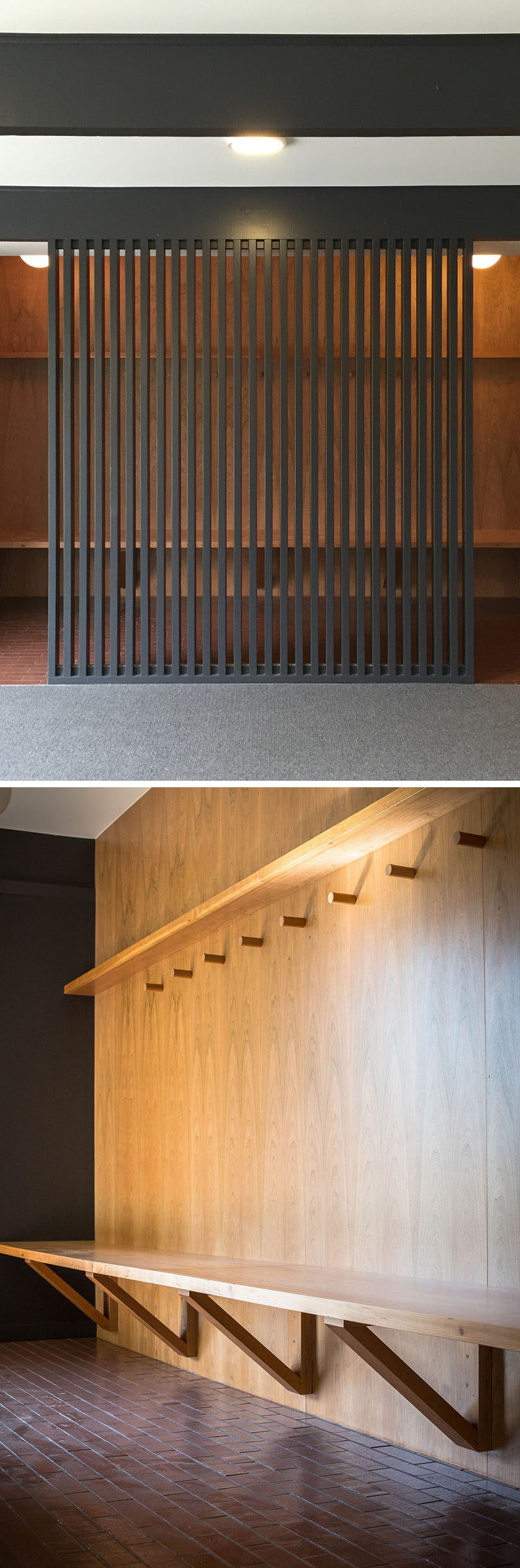 This modern mudroom has a wood bench, hooks and a screen that allows light through. #Mudroom