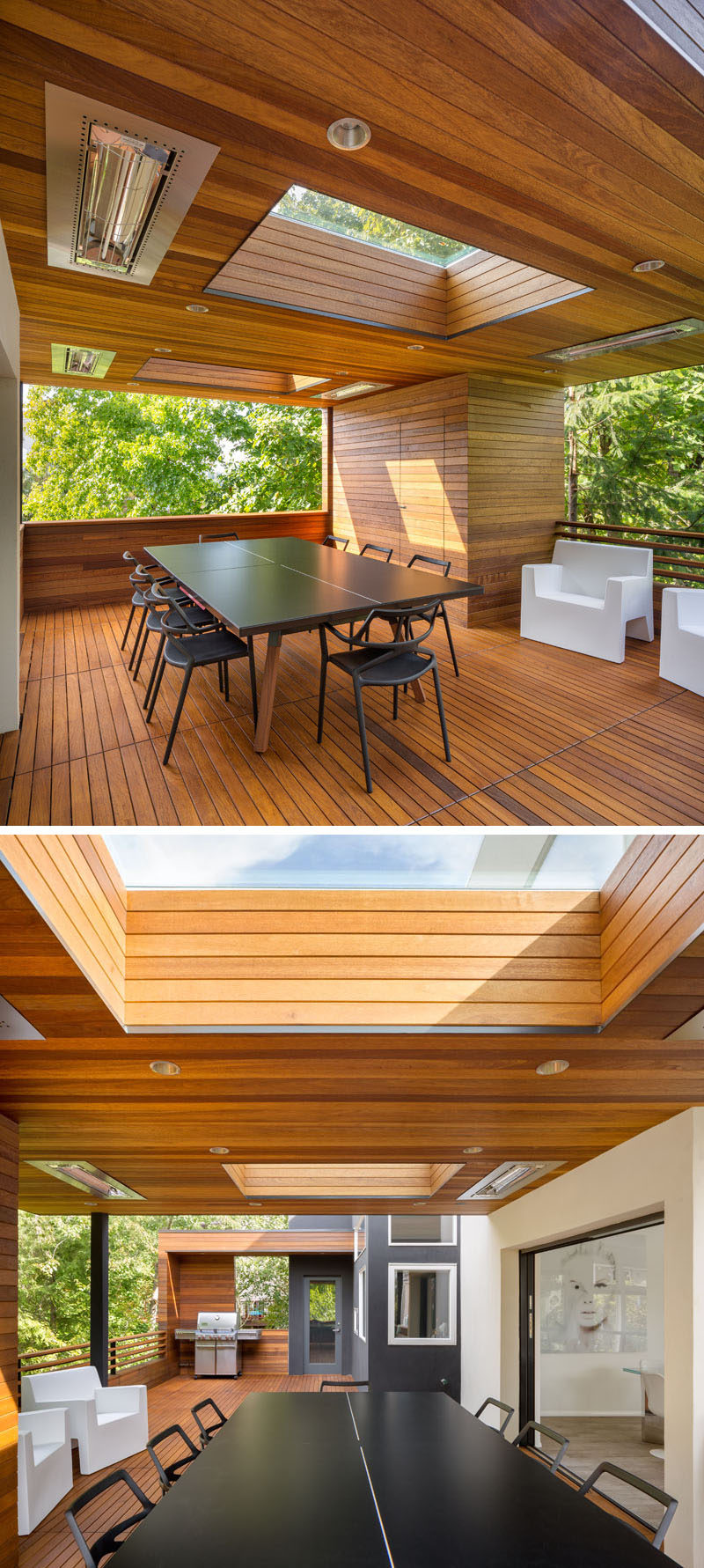 This modern outdoor area has a dining table that converts to a ping pong table, while sky lights and heaters enable year round outdoor dining. #OutdoorDining #Skylights