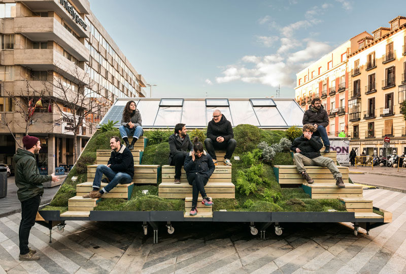 A Portable Design Office With Outdoor ?Mountain? Seating Was Created By Enorme Studio and MINI For The Madrid Design Festival