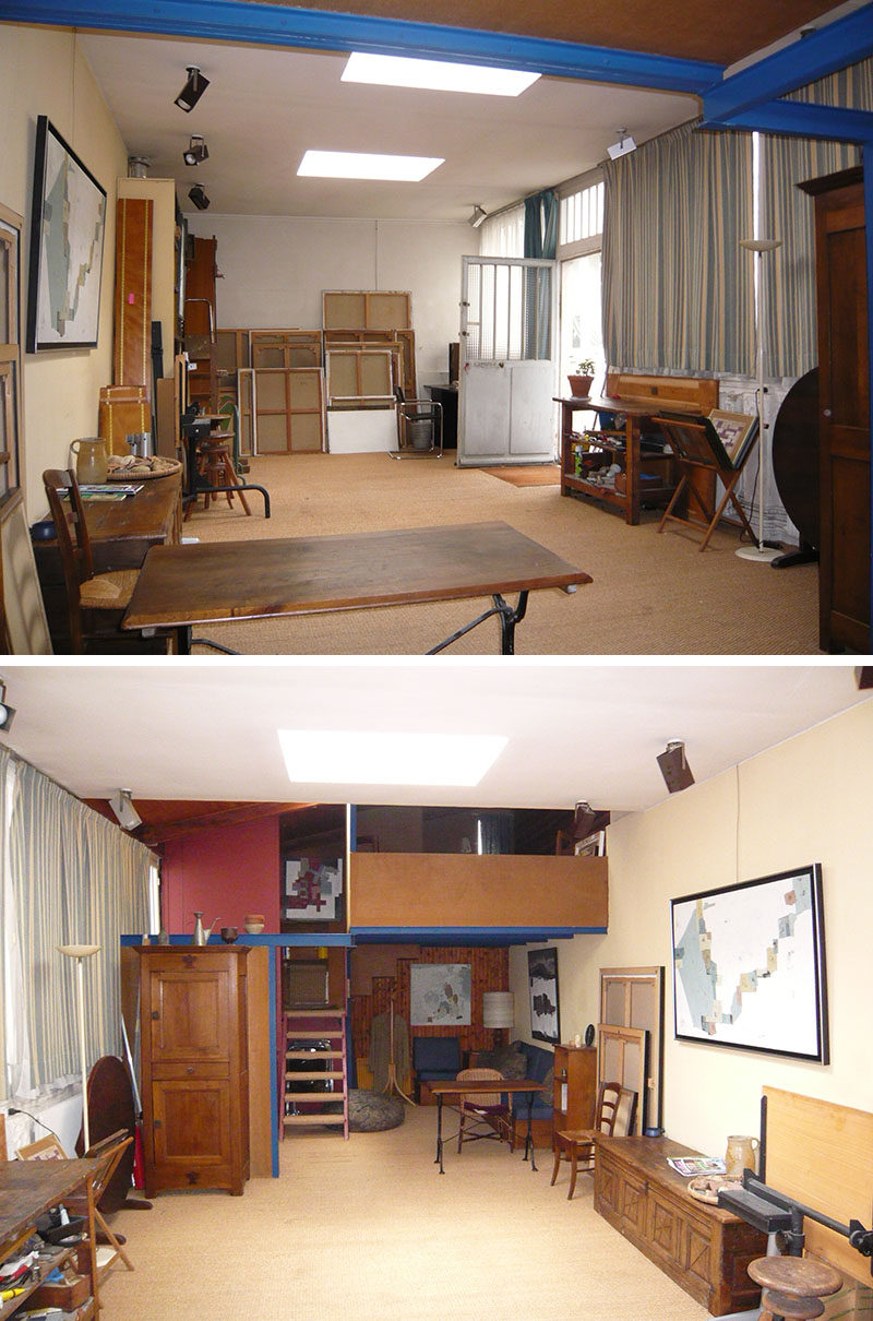 This small building that was once a garage and then an artist studio, has been transformed into a small house with a kitchen, bedroom, bathroom and lofted work area. #BeforePhoto #SmallHouse