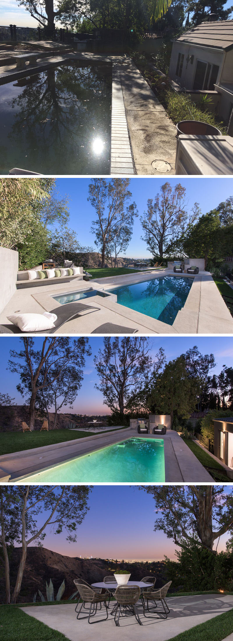 BEFORE & AFTER - This backyard, which has views of the surrounding neighborhood, received a major overhaul, with an updated pool and bbq area, built-in seating, a new lawn and patio area. #Landscaping #Backyard #SwimmingPool