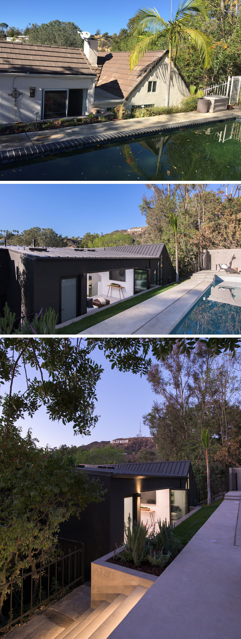 AUX Architecture have recently completed the modern renovation of a house in the Hollywood Hills, that had previously undergone multiple owners and renovations since it was originally built in 1989. #ModernRenovation #HouseRenovation