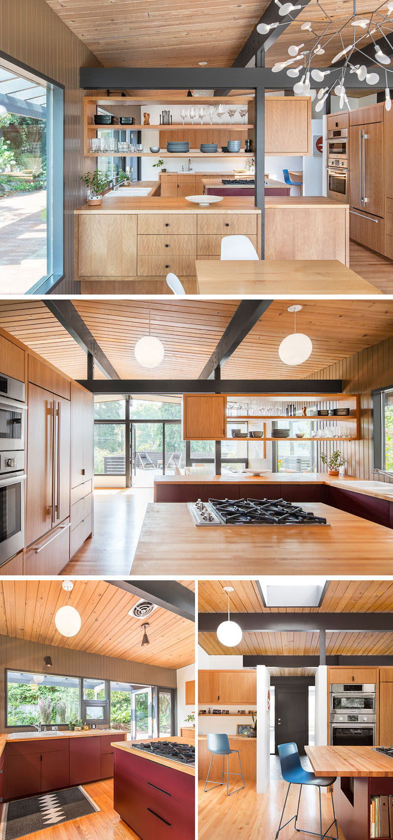 In this remodeled kitchen, kight wood cabinets and countertops have been paired with maroon laminate cabinets as the homeowners wanted to add a pop of color.#KitchenRemodel #WoodCabinets