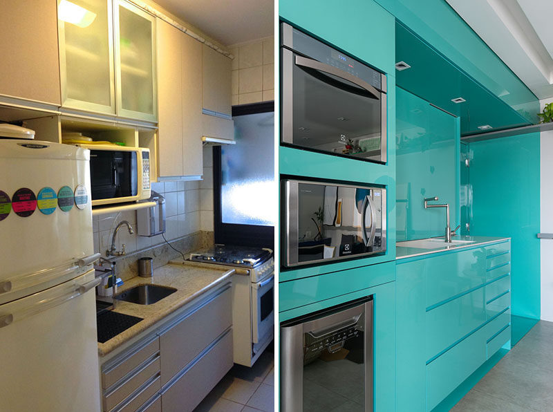 Flavio Castro of FC Studio has designed the bright and colorful renovation of a small kitchen in an apartment in Sao Paulo, Brazil. #KitchenRemodel #Renovation #ModernKitchen