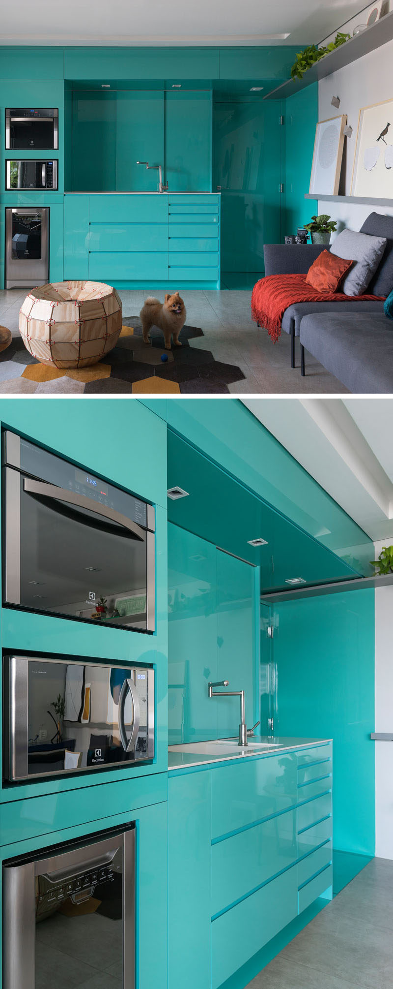 This modern kitchen has a bright blue color scheme with minimalist and glossy cabinets. By using color, the designers of the apartment were able to define the kitchen area from the open floor plan living room. #BlueKitchen #ModernKitchen #KitchenDesign