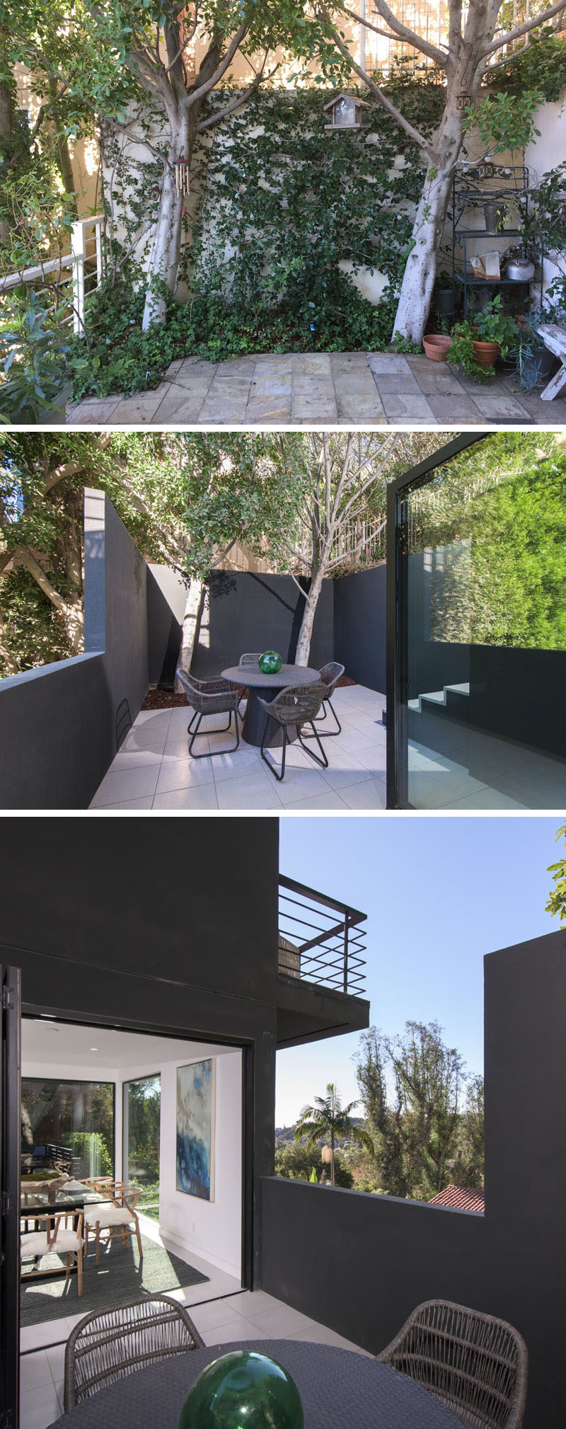 BEFORE & AFTER - What was once an overgrown patio, has now been transformed into a private oasis with dark walls and a tidy appearance. #Patio #Landscaping #OutdoorSpace