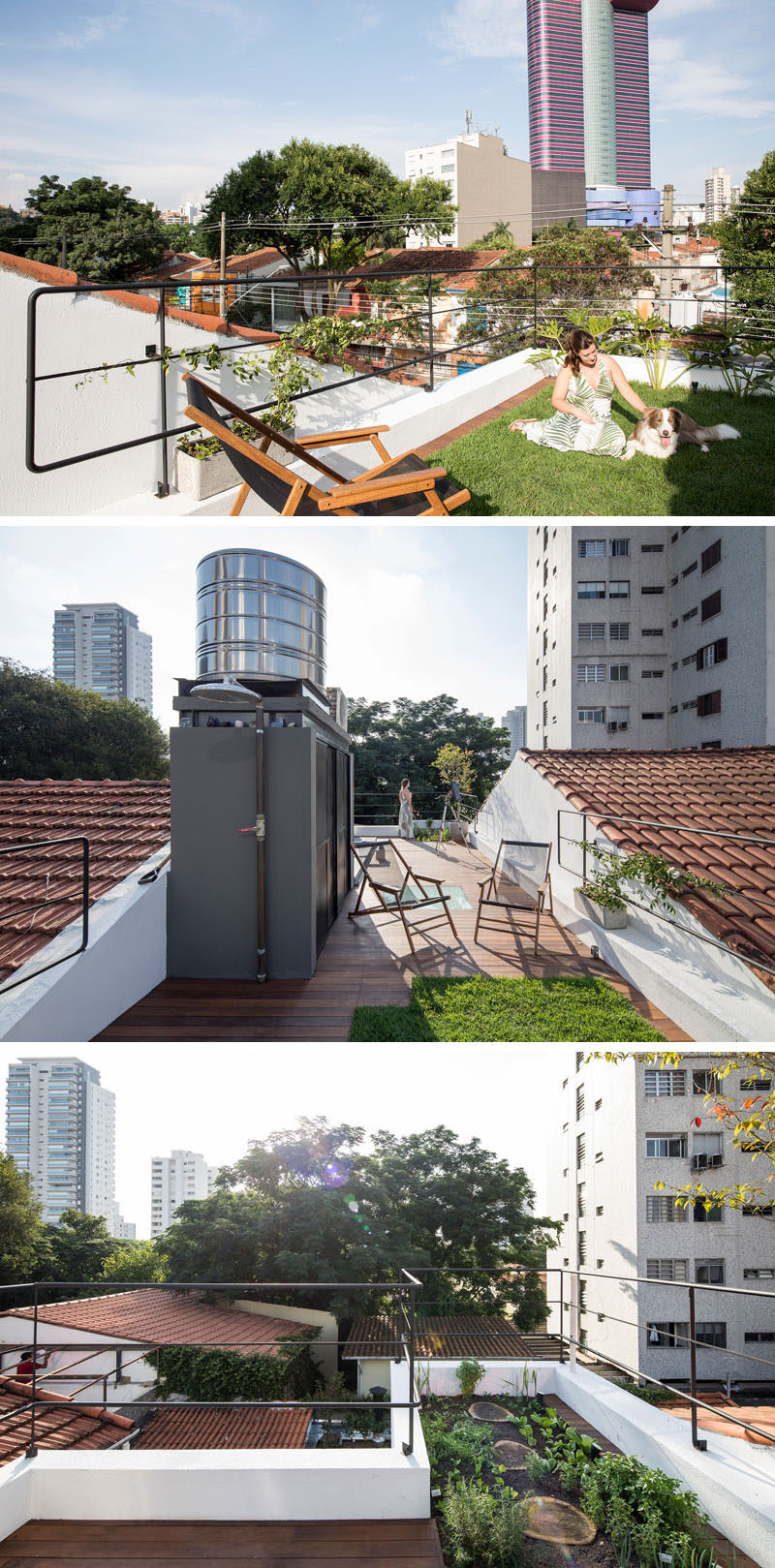 This small house has a rooftop deck with a small grassy area and garden, as well as space for relaxing. #RooftopDeck #RooftopGarden