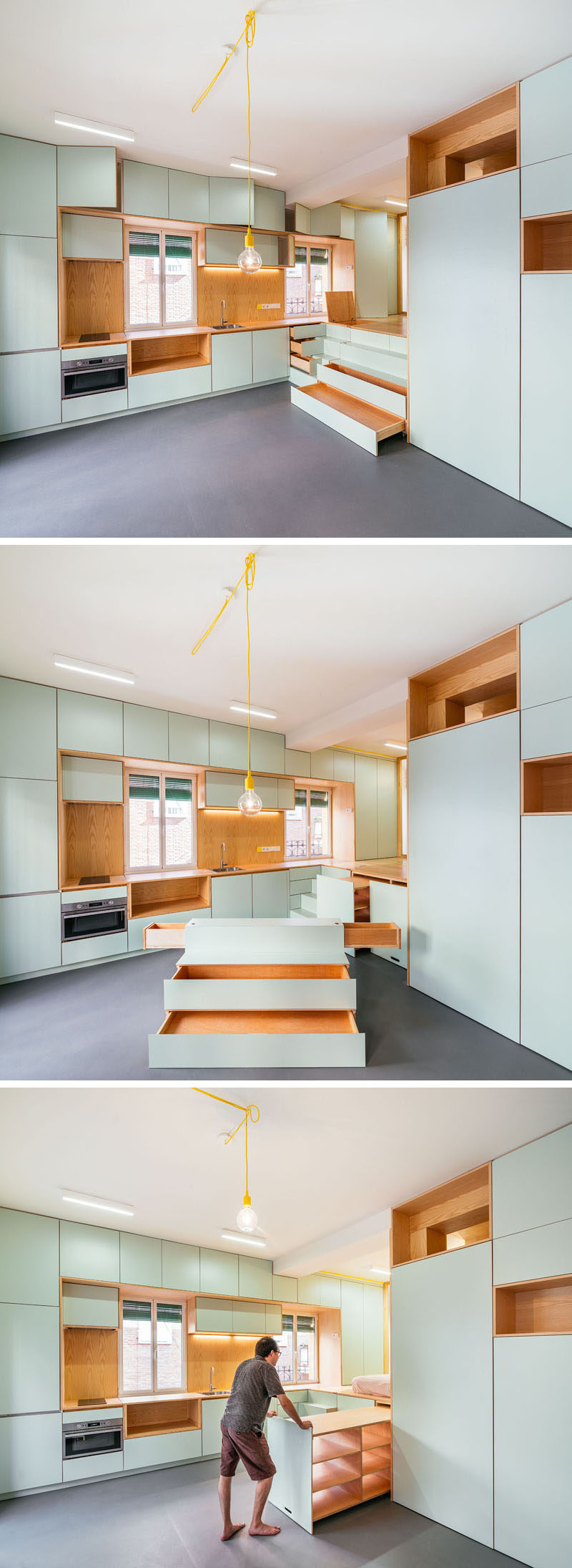 To create storage in this small and modern apartment, the bedroom area was raised and storage was hidden underneath it. #HiddenStorage #ModernApartment