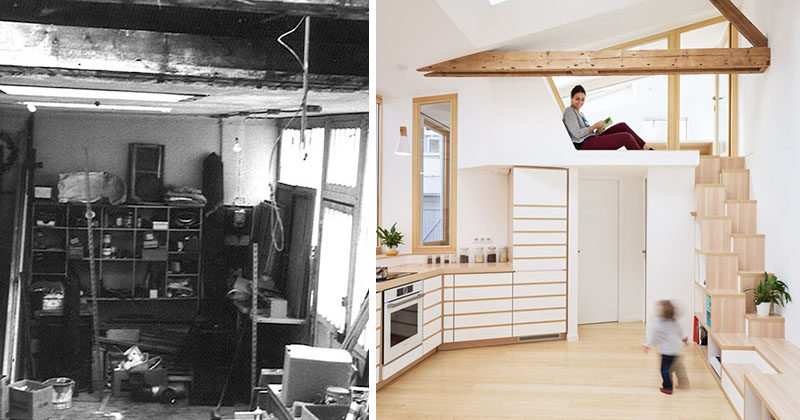This small building that was once a garage and then an artist studio, has been transformed into a small house with a kitchen, bedroom, bathroom and lofted work area. #SmallHouse #InteriorDesign #ModernInterior