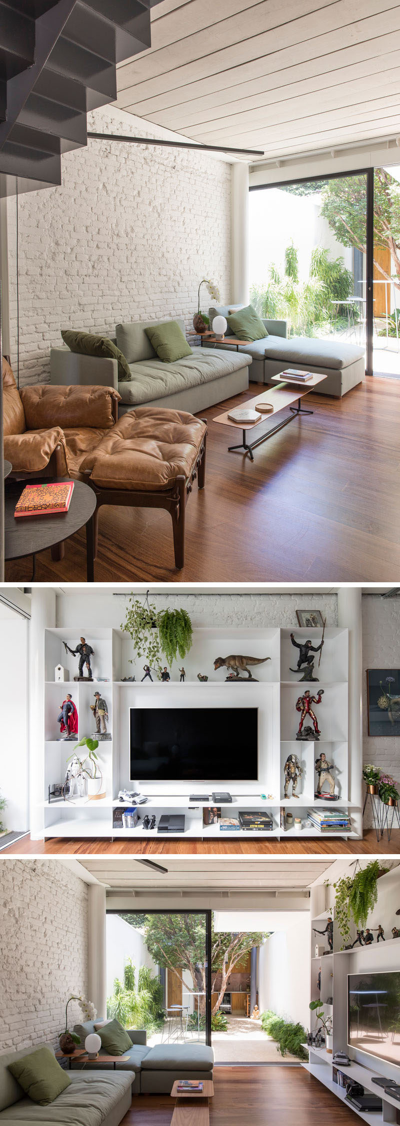 In this modern living room, seating is located along one side of the space, while on the other wall, there's a shelving unit with room to display action figures and house the television. #LivingRoom #Shelving