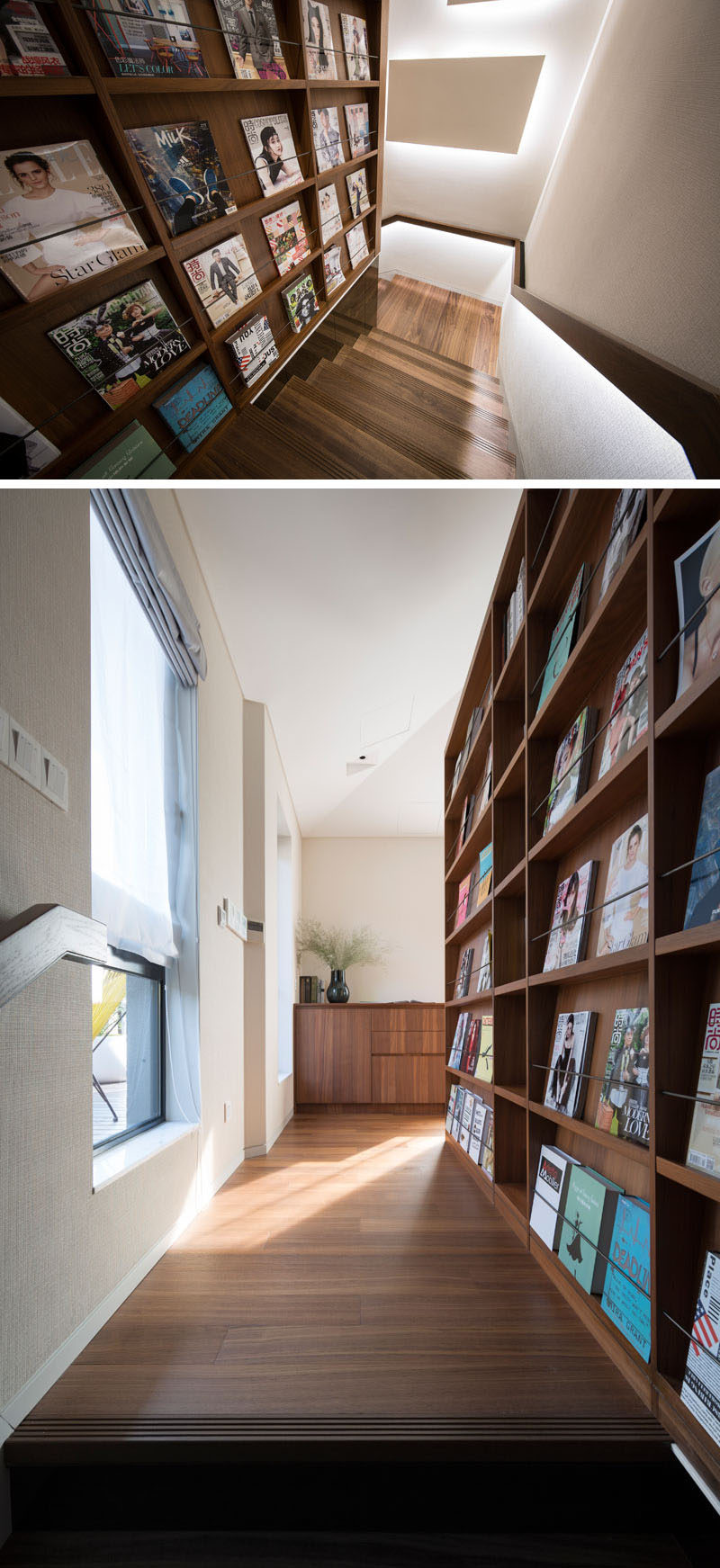 These stairs have a handrail with hidden lighting and a shallow bookcase for displaying magazines. #WoodStairs #ModernStairs #Shelving