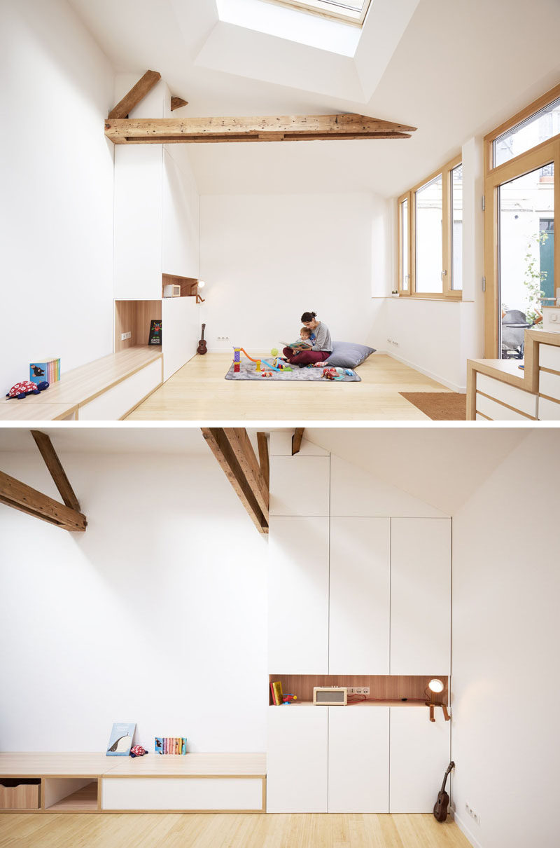 Built-in cabinets almost blend into the white walls of this small house interior. #Storage #Cabinets