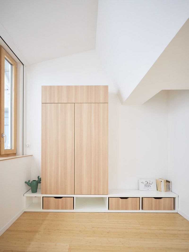 This bedroom has a wood closet and drawers that provide some storage. #Closet #Drawers