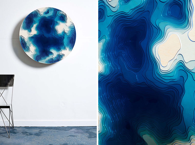 Abyss Wall Relief designed by Christopher Duffy for Duffy London, features a combination of wood and glass to create a sculptural wall piece that casts an eye into the ancient depths of the ocean. #WallArt #Art #Sculpture #ModernSculpture #ModernArt #Design