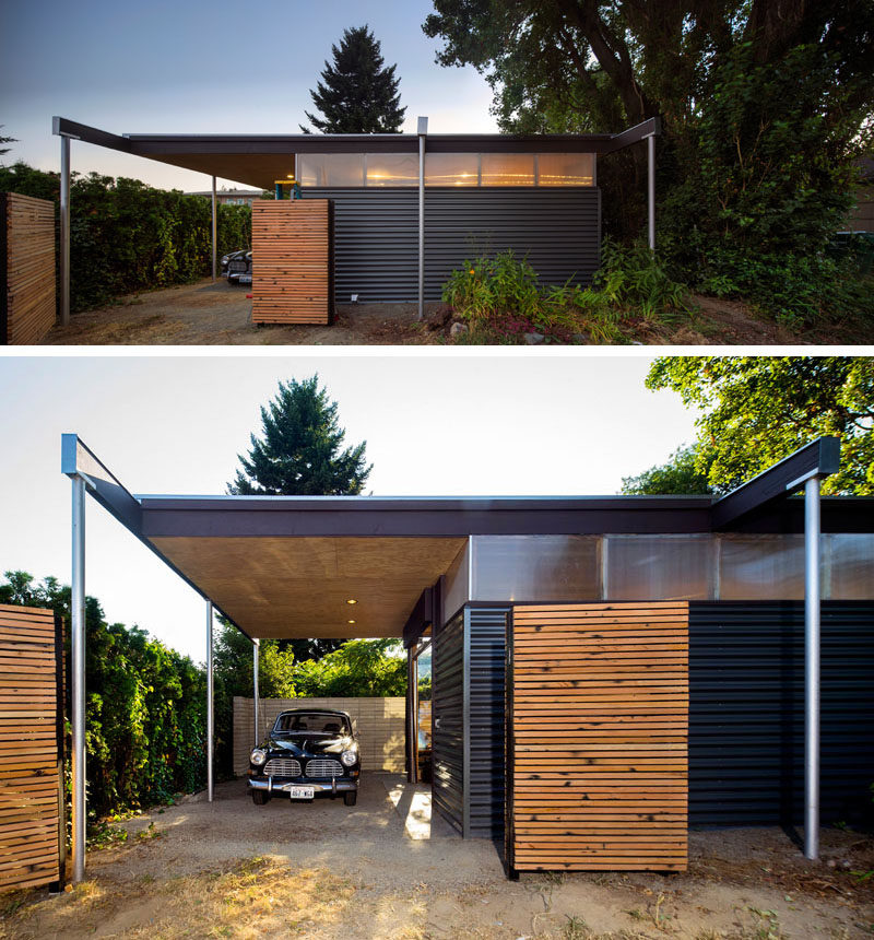 A pavilion roof extends to form a carport and outdoor workshop space at the end of this modern backyard studio. #BackyardStudio #ModernArchitecture #Carport